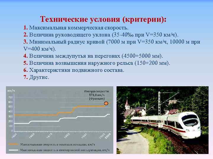 Технические условия (критерии): 1. Максимальная коммерческая скорость. 2. Величина руководящего уклона (35 -40‰ при