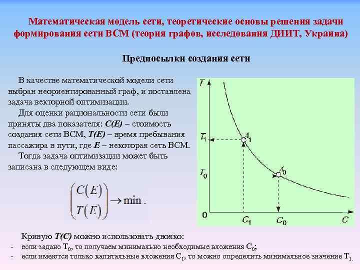 Математическая модель сети, теоретические основы решения задачи формирования сети ВСМ (теория графов, исследования ДИИТ,