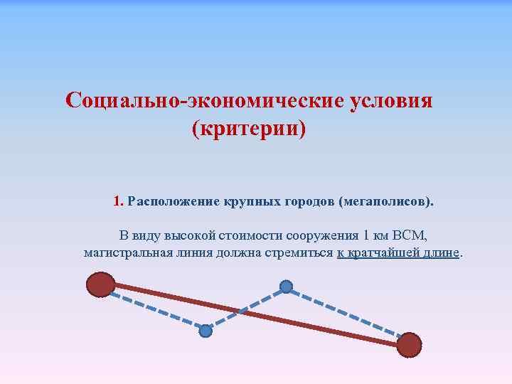Социально-экономические условия (критерии) 1. Расположение крупных городов (мегаполисов). В виду высокой стоимости сооружения 1