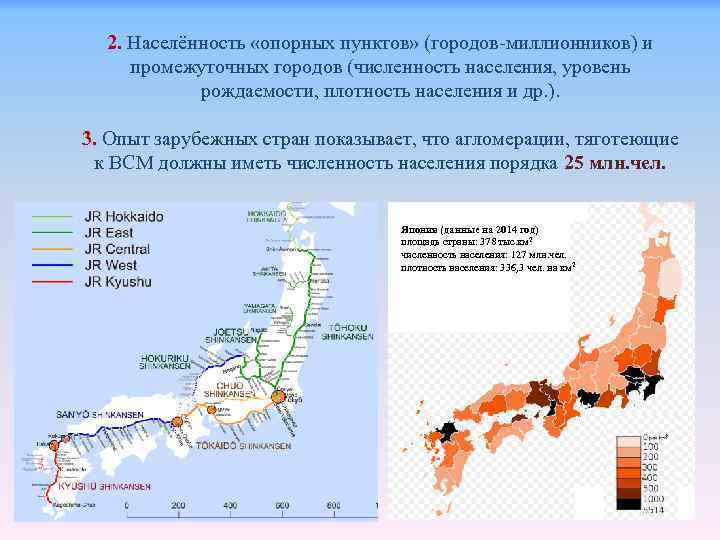 2. Населённость «опорных пунктов» (городов-миллионников) и промежуточных городов (численность населения, уровень рождаемости, плотность населения