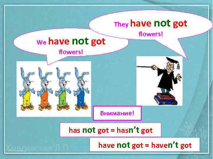 not got We have flowers! They have flowers! Внимание! has not got = hasn't