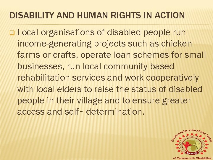 DISABILITY AND HUMAN RIGHTS IN ACTION q Local organisations of disabled people run income-generating