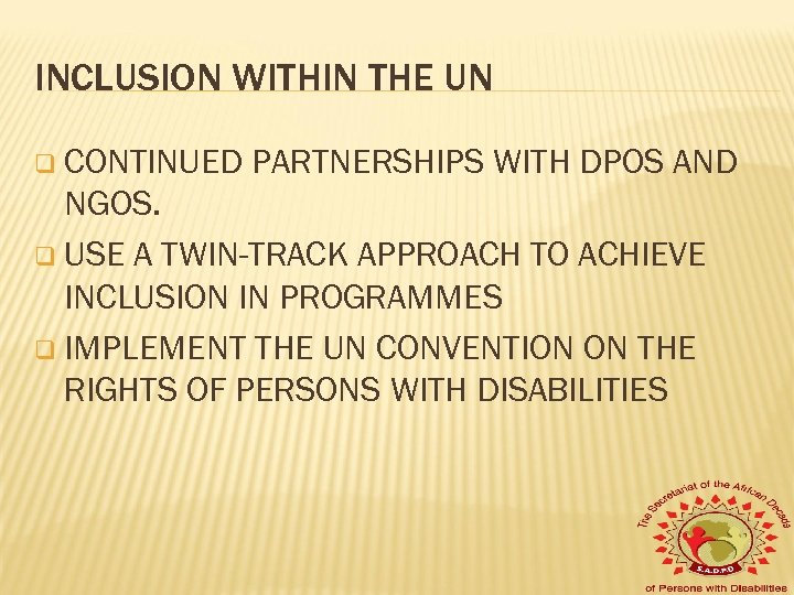INCLUSION WITHIN THE UN q CONTINUED PARTNERSHIPS WITH DPOS AND NGOS. q USE A