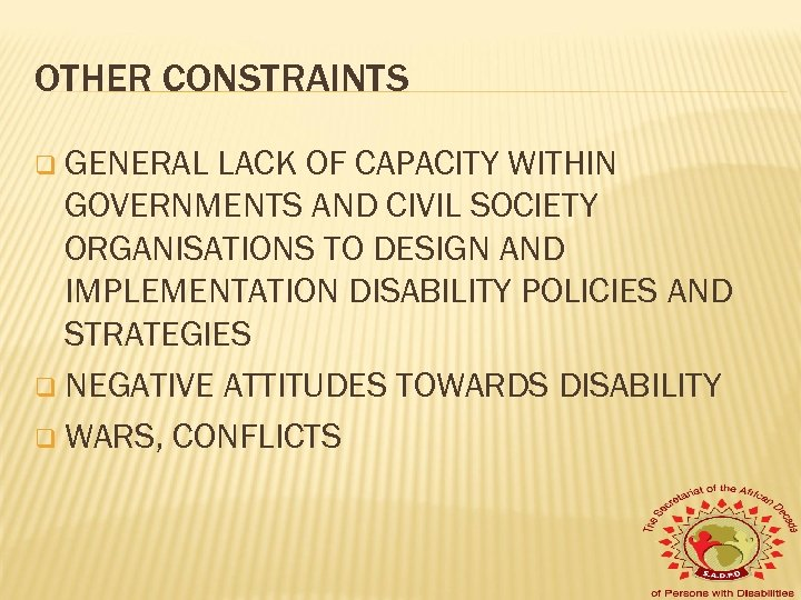 OTHER CONSTRAINTS q GENERAL LACK OF CAPACITY WITHIN GOVERNMENTS AND CIVIL SOCIETY ORGANISATIONS TO