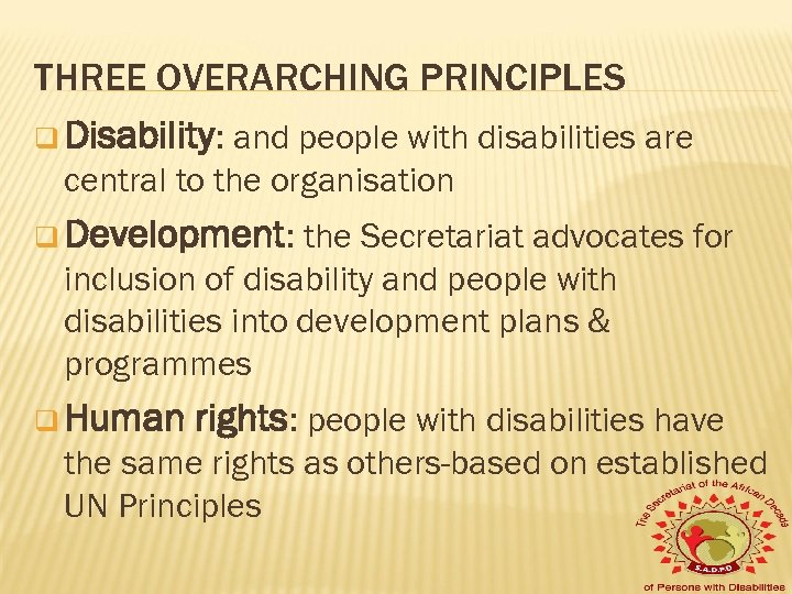 THREE OVERARCHING PRINCIPLES q Disability: and people with disabilities are central to the organisation