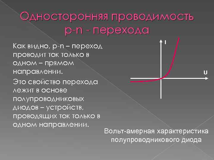 Односторонняя проводимость p-n - перехода Как видно, p-n – переход проводит ток только в
