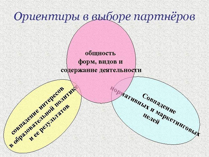 Ориентиры в выборе партнёров общность форм, видов и содержание деятельности в ике со т