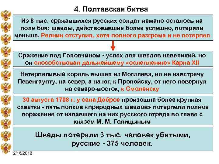 4. Полтавская битва Из 8 тыс. сражавшихся русских солдат немало осталось на поле боя;
