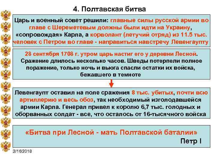 4. Полтавская битва Царь и военный совет решили: главные силы русской армии во главе