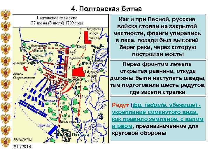 4. Полтавская битва Как и при Лесной, русские войска стояли на закрытой местности, фланги