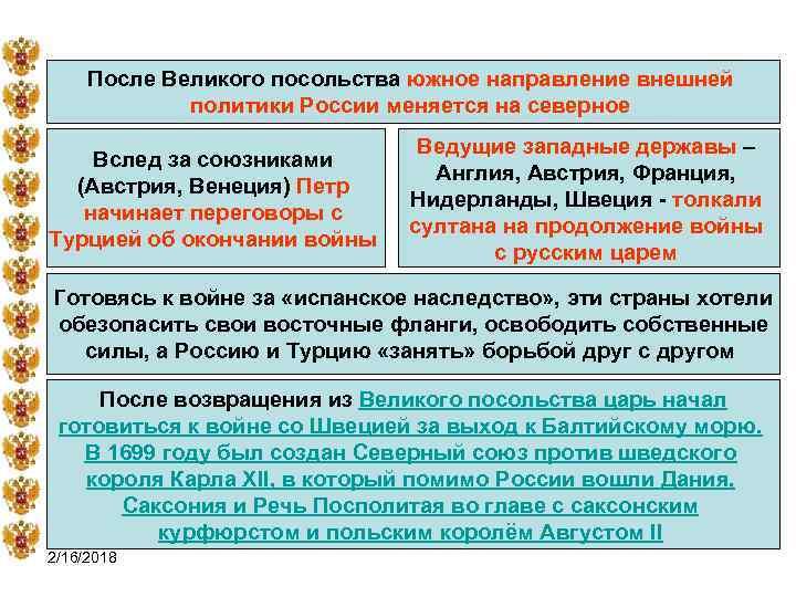 После Великого посольства южное направление внешней политики России меняется на северное Вслед за союзниками