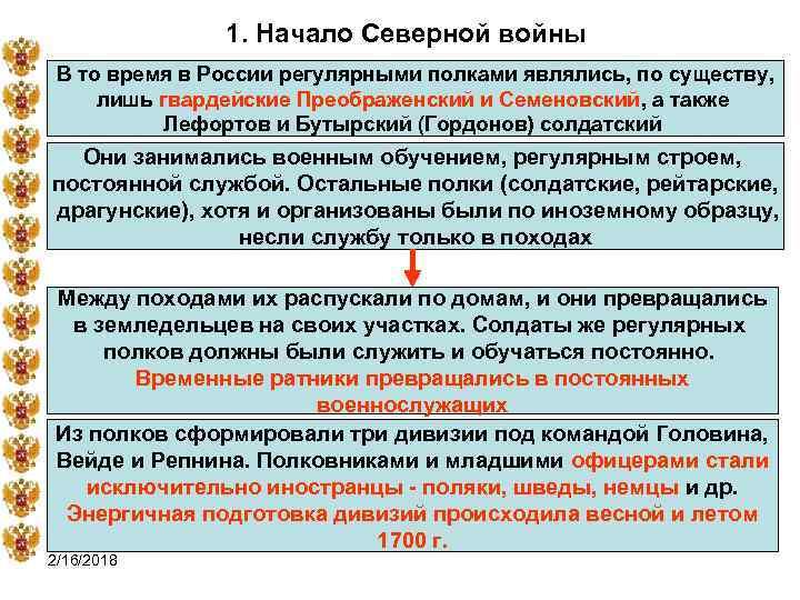 1. Начало Северной войны В то время в России регулярными полками являлись, по существу,