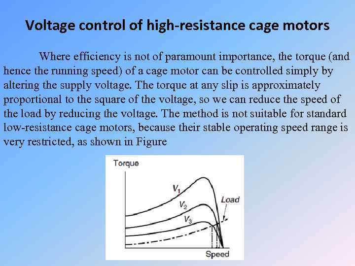 Voltage control of high-resistance cage motors Where efficiency is not of paramount importance, the