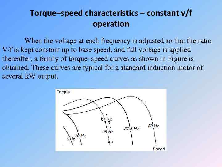 Torque–speed characteristics – constant v/f operation When the voltage at each frequency is adjusted