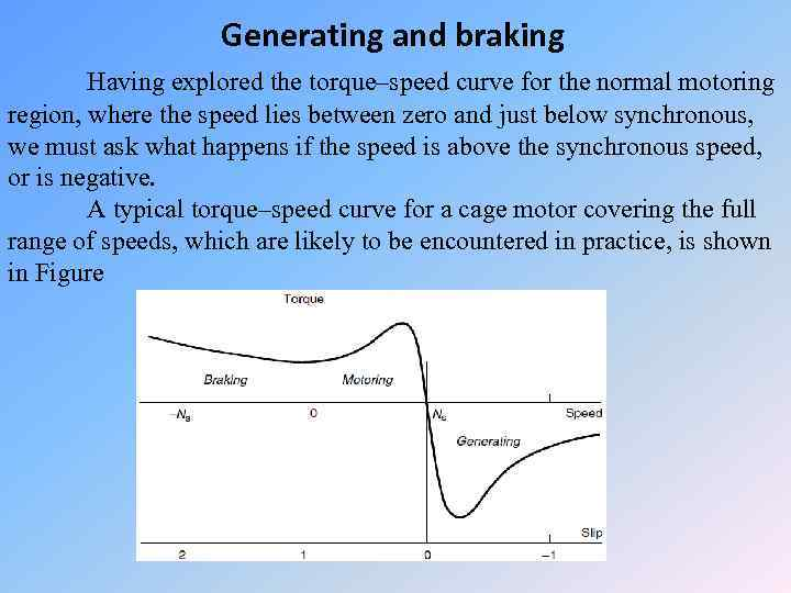 Generating and braking Having explored the torque–speed curve for the normal motoring region, where