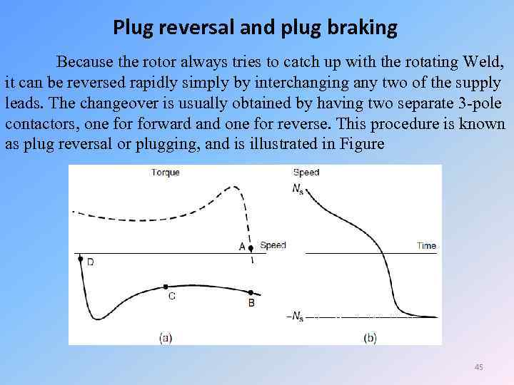 Plug reversal and plug braking Because the rotor always tries to catch up with