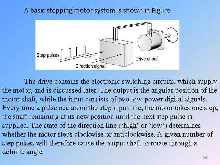 A basic stepping motor system is shown in Figure The drive contains the electronic