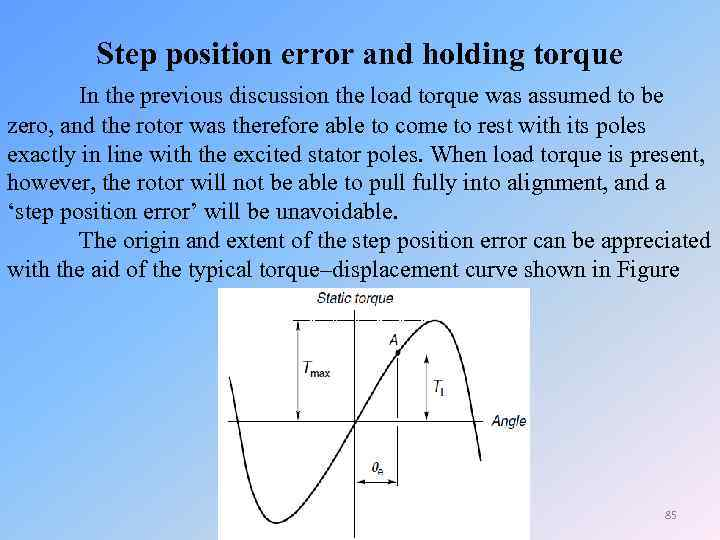 Step position error and holding torque In the previous discussion the load torque was