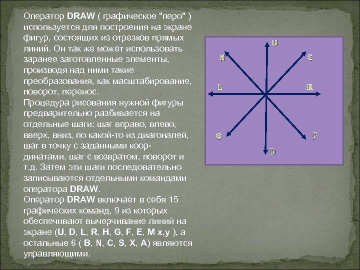 Оператор DRAW ( графическое
