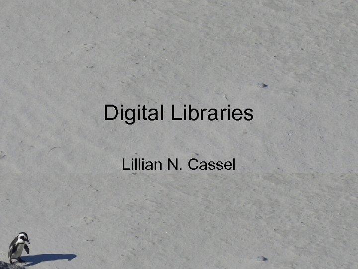 Digital Libraries Lillian N. Cassel