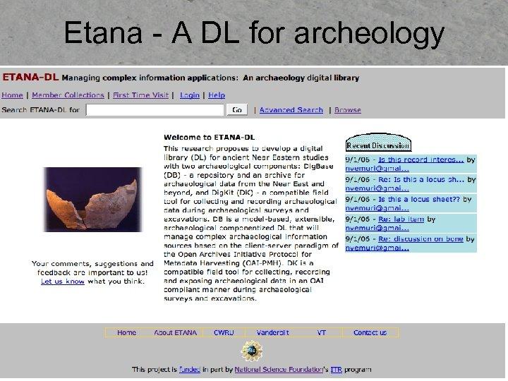 Etana - A DL for archeology
