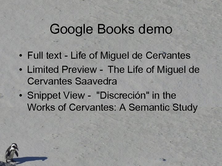 Google Books demo • Full text - Life of Miguel de Cervantes • Limited