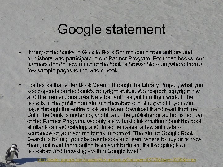 """Google statement • """"Many of the books in Google Book Search come from authors"""