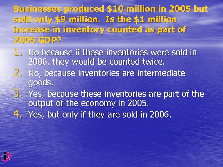 Businesses produced $10 million in 2005 but sold only $9 million. Is the $1