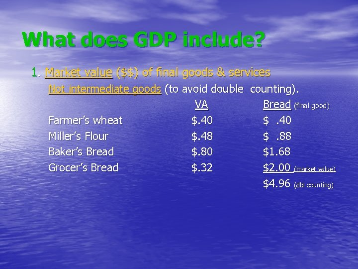 What does GDP include? 1. Market value ($$) of final goods & services Not