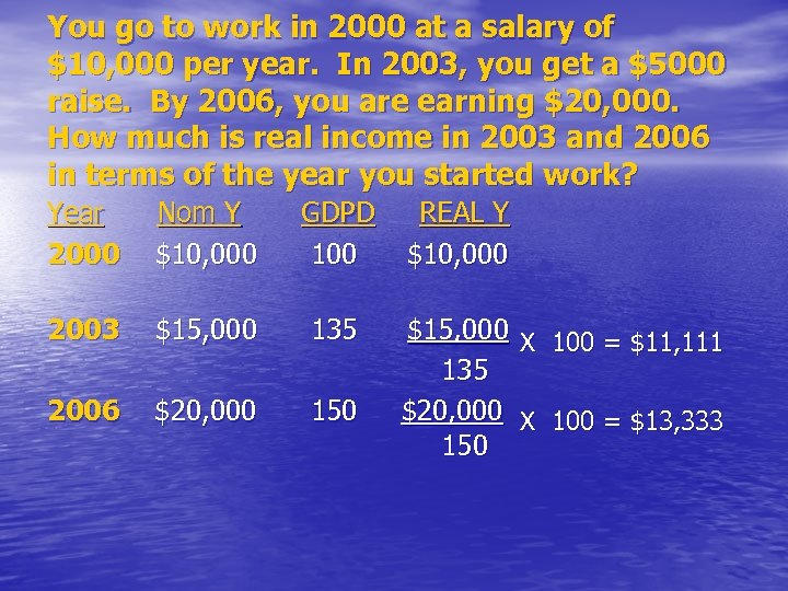 You go to work in 2000 at a salary of $10, 000 per year.