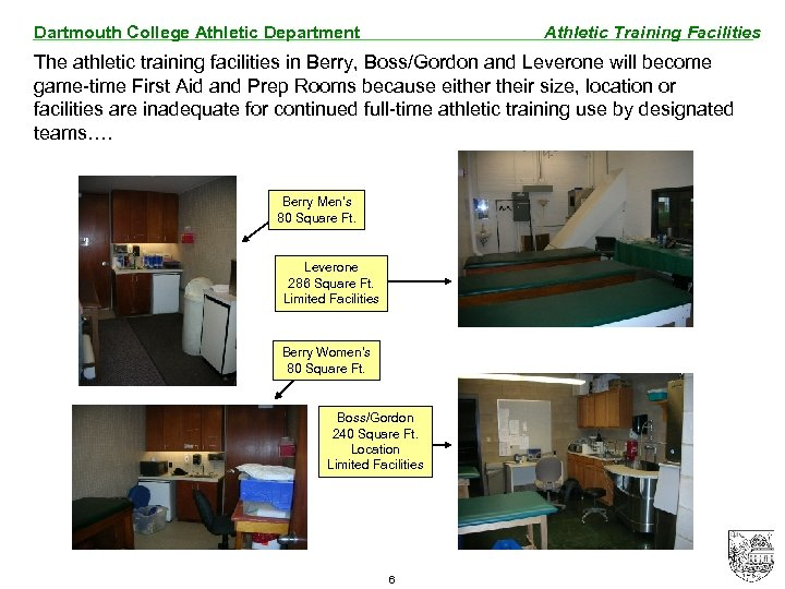 Dartmouth College Athletic Department Athletic Training Facilities The athletic training facilities in Berry, Boss/Gordon