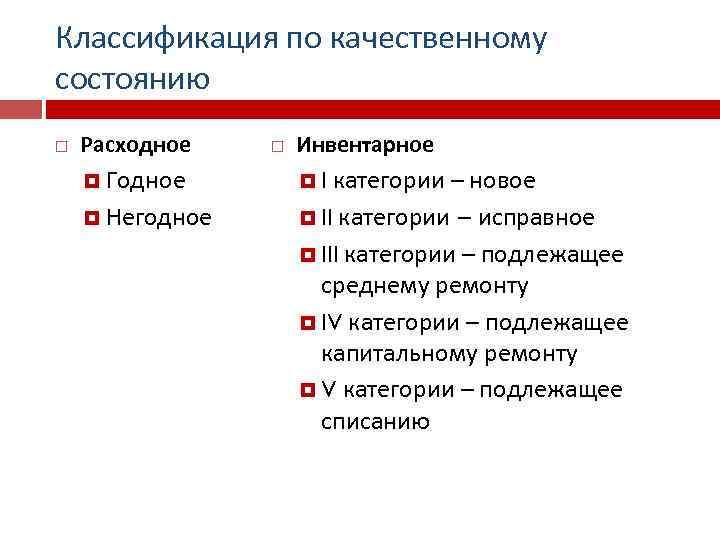 Классификация по качественному состоянию Расходное Годное Негодное Инвентарное категории – новое II категории –