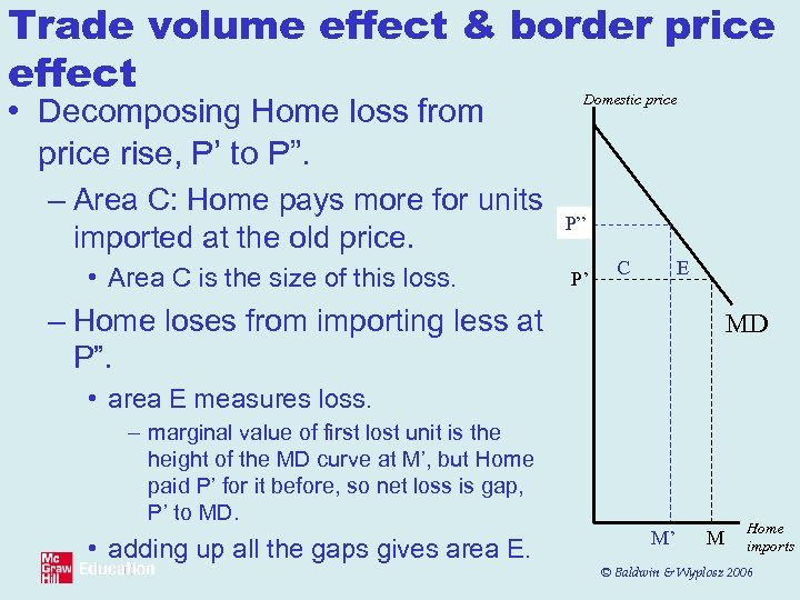 Trade volume effect & border price effect • Decomposing Home loss from price rise,