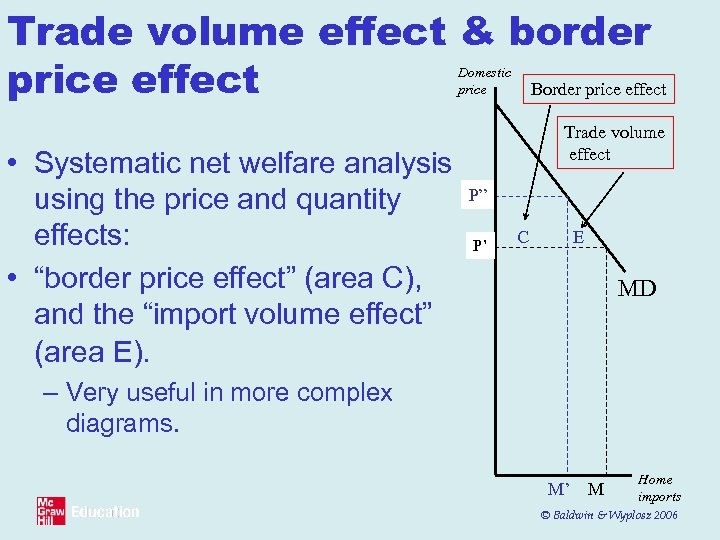 Trade volume effect & border price effect Border price effect Domestic price • Systematic