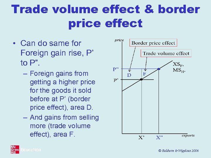 Trade volume effect & border price effect • Can do same for Foreign gain