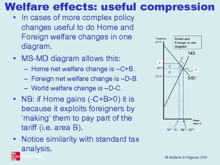 Welfare effects: useful compression • In cases of more complex policy changes useful to
