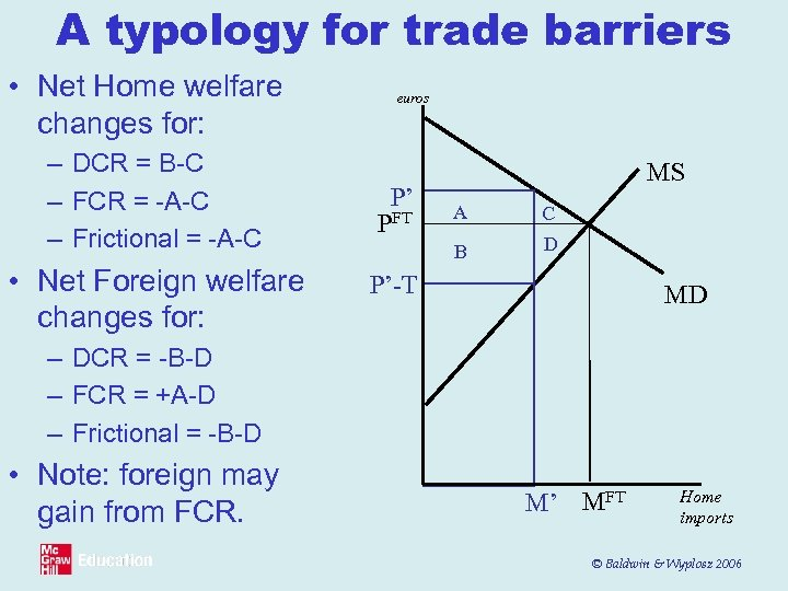 A typology for trade barriers • Net Home welfare changes for: – DCR =