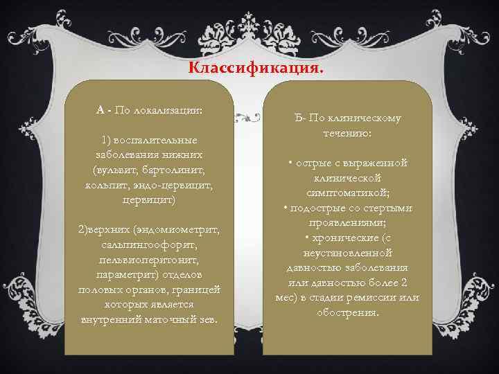 Классификация. А - По локализации: 1) воспалительные заболевания нижних (вульвит, бартолинит, кольпит, эндо-цервицит, цервицит)