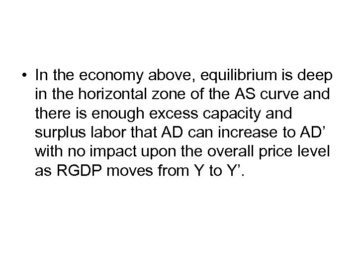 • In the economy above, equilibrium is deep in the horizontal zone of