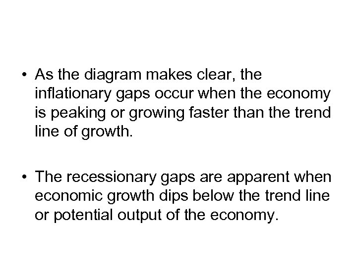 • As the diagram makes clear, the inflationary gaps occur when the economy