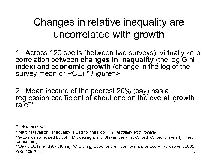 Changes in relative inequality are uncorrelated with growth 1. Across 120 spells (between two