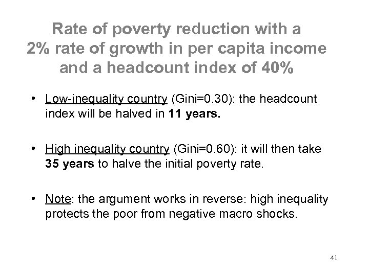 Rate of poverty reduction with a 2% rate of growth in per capita income