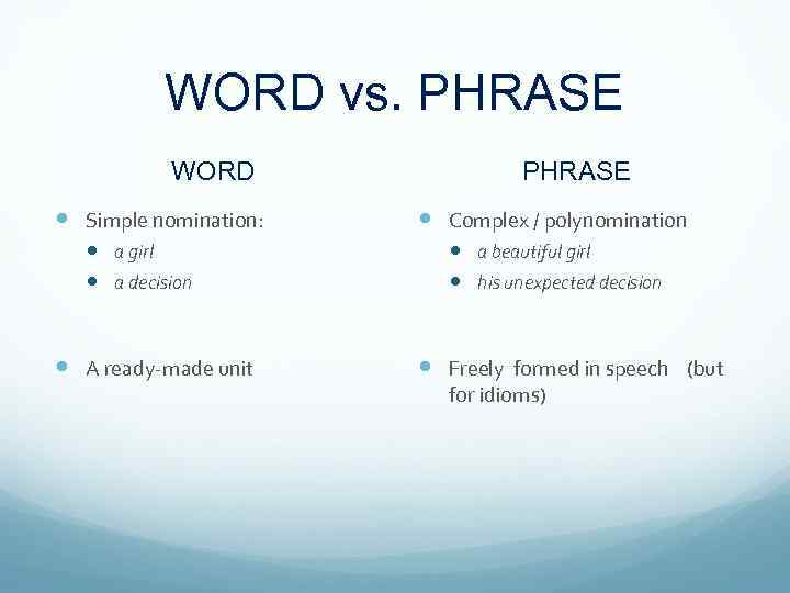 WORD vs. PHRASE WORD Simple nomination: a girl a decision A ready-made unit PHRASE