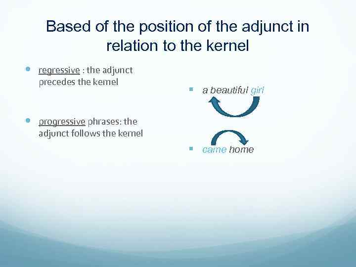 Based of the position of the adjunct in relation to the kernel regressive :