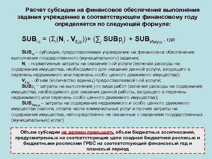 Расчет субсидии на финансовое обеспечение выполнения задания учреждению в соответствующем финансовому году определяется по