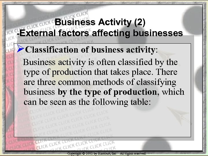 Business Activity (2) -External factors affecting businesses ØClassification of business activity: Business activity is