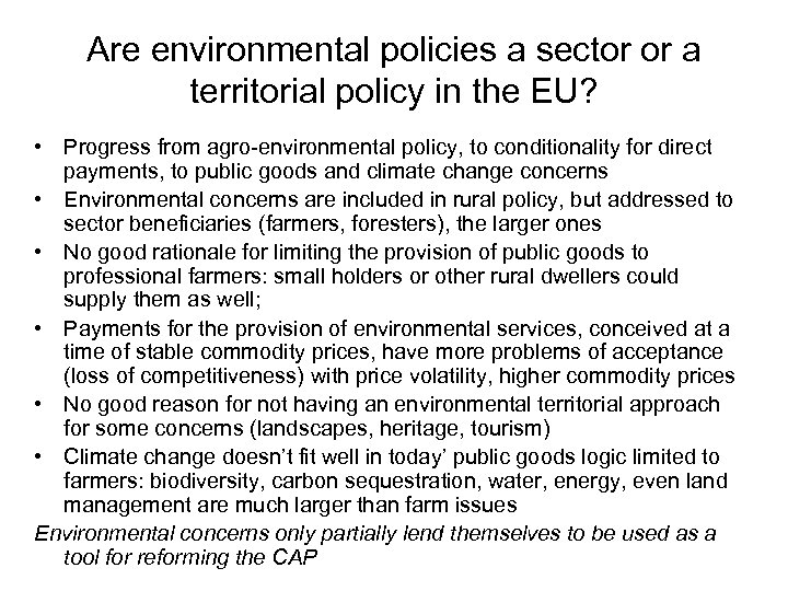 Are environmental policies a sector or a territorial policy in the EU? • Progress