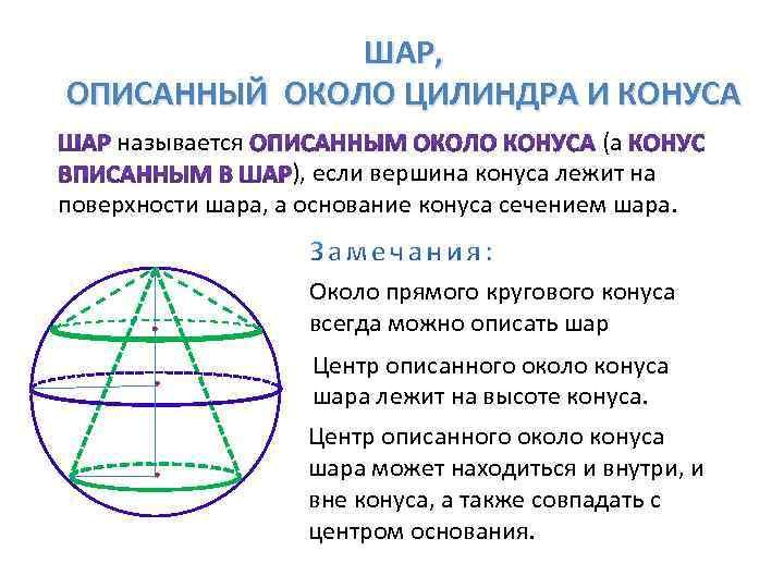ШАР, ОПИСАННЫЙ ОКОЛО ЦИЛИНДРА И КОНУСА называется (а ), если вершина конуса лежит на