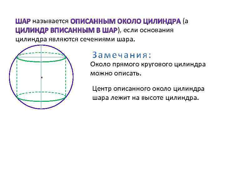 называется ), если основания цилиндра являются сечениями шара. (а Около прямого кругового цилиндра можно