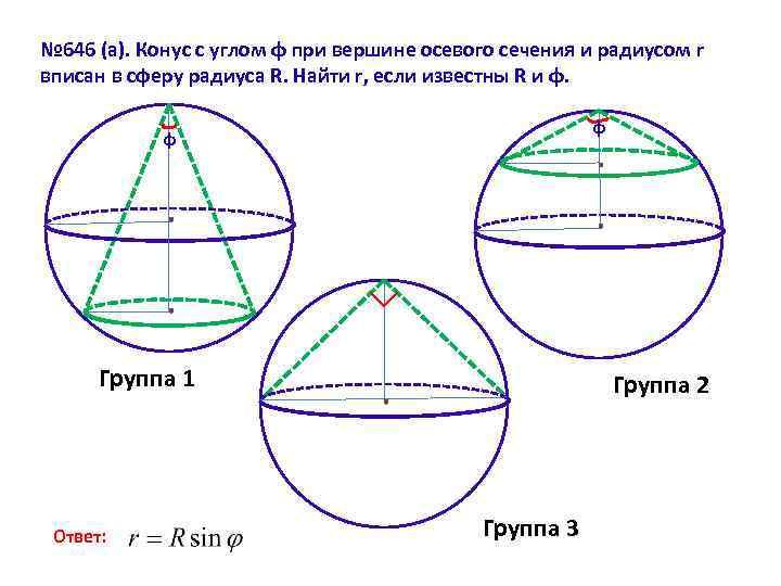 № 646 (а). Конус с углом φ при вершине осевого сечения и радиусом r